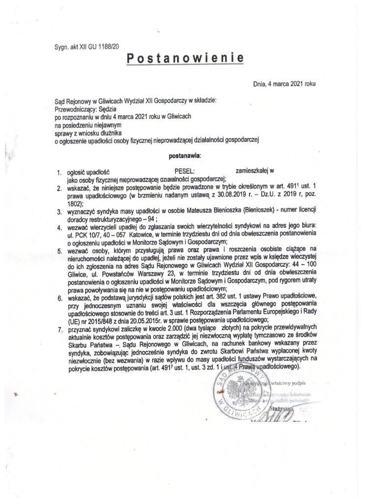 Upadłość Konsumencka Gliwice