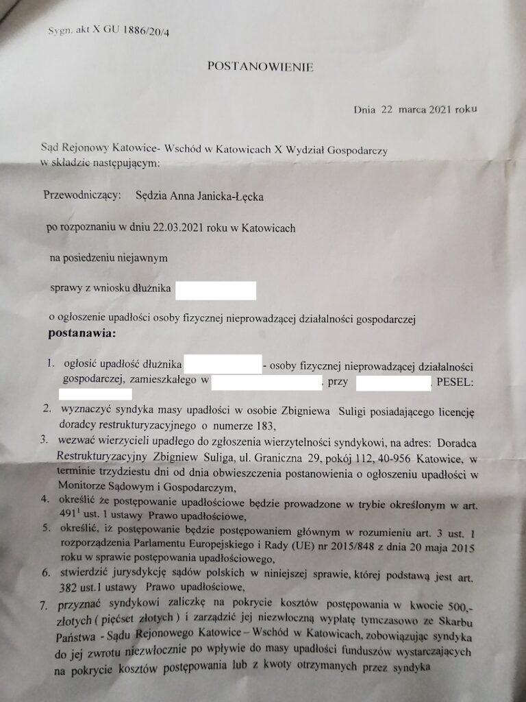 upadłość konsumencka Katowice